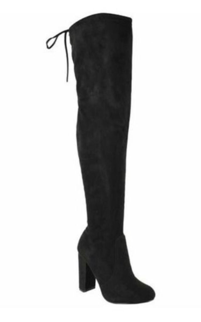 Over Knee Boots - Black Suede by AJ | VOYAGE