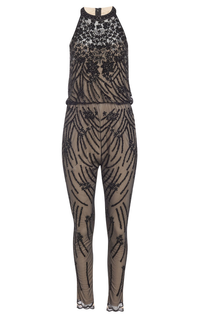 88b4a524bc8 Cora 1920 s Vintage Inspired Jumpsuit in Nude Black by Gatsbylady London