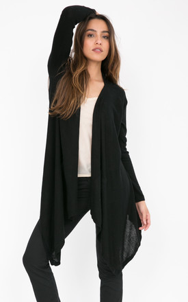 Wool Waterfall Pocket Cardigan Black by likemary