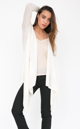Wool Waterfall Pocket Cardigan Cream by likemary