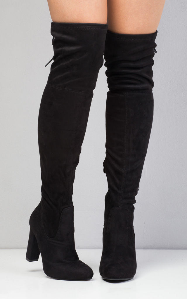Over The Knee Thigh High Tie Back Faux Suede Pointed Boots Black by LILY LULU FASHION