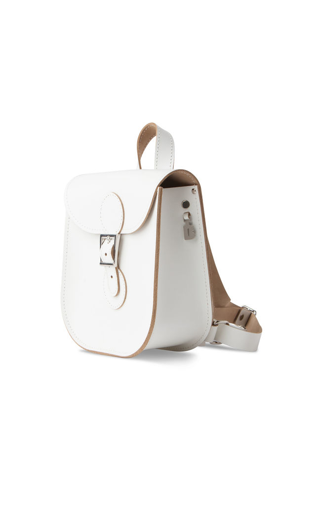 Leather Backpack in White by Brit-Stitch