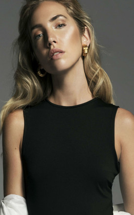 BLACK ROUND NECK SLEEVELESS BODYSUIT by SOPHIE VICTORIA WEBB - SVW