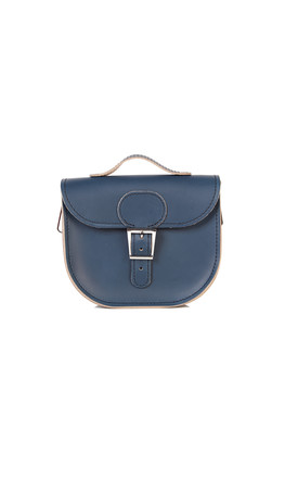 Small Leather Cross Body Satchel Bag In Navy Blue by Brit-Stitch Product photo