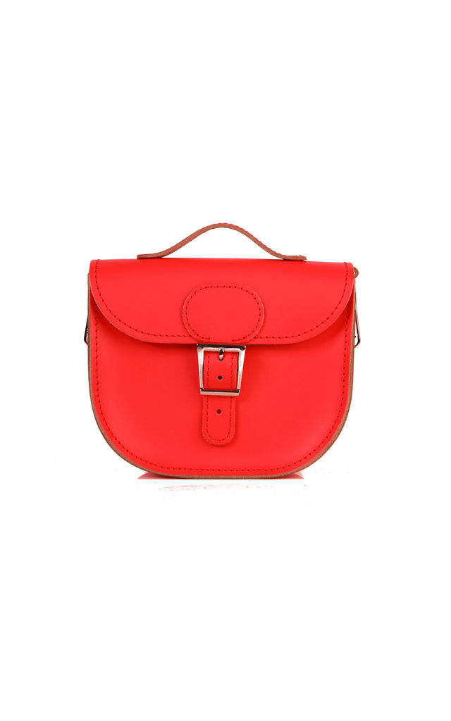 Half Pint Leather Cross Body Bag Poppy Red by Brit-Stitch