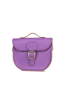Half Pint Leather Cross Body Bag Purple Heart by Brit-Stitch