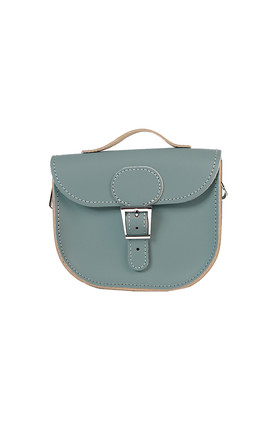 Small Leather Cross Body Satchel Bag In Sea Grey by Brit-Stitch Product photo