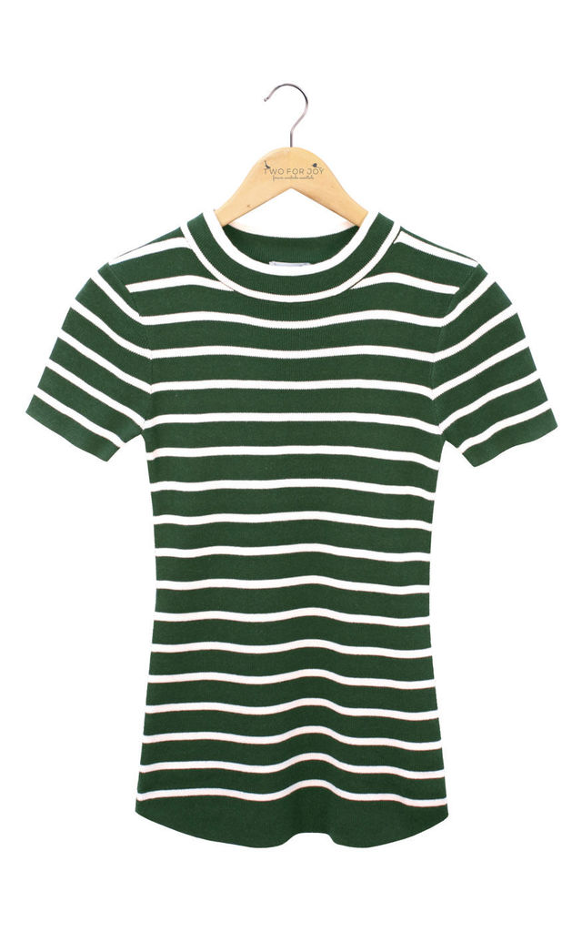 Ribbed Mock Neck Top Green/Cream Stripes by Two For Joy