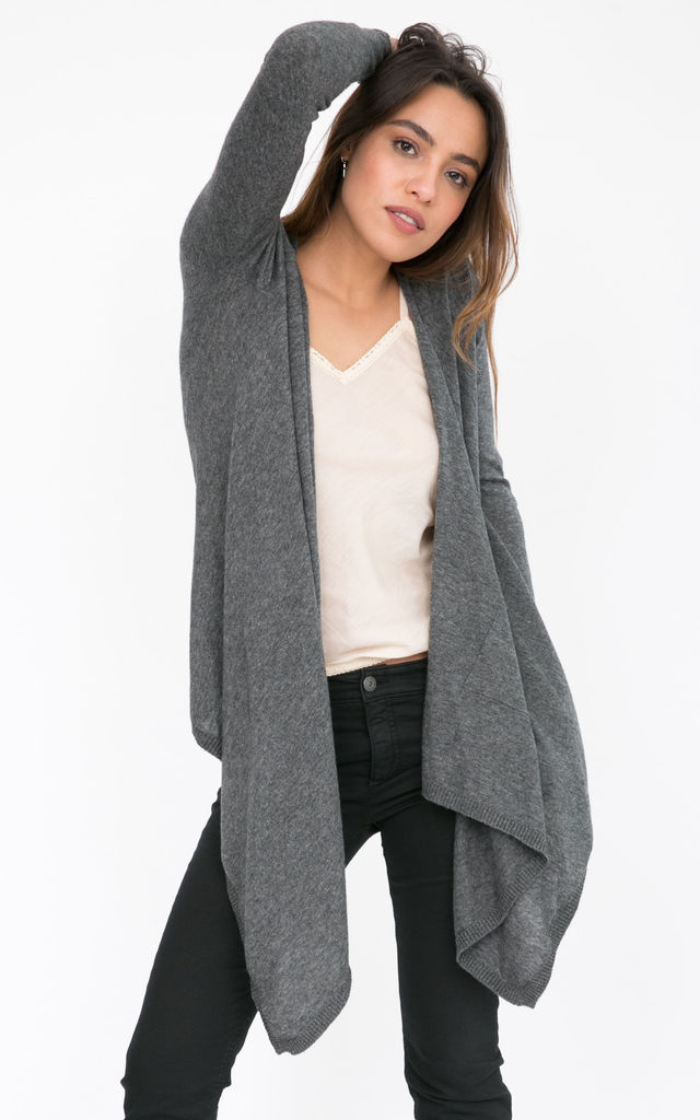 Wool Waterfall Cardigan Charcoal by likemary