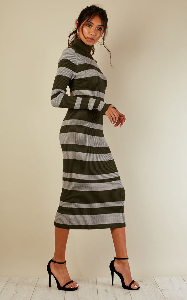 Khaki and grey striped ribbed knit dress by Lilah Rose