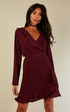 Wine Wrap Frill Dress by John Zack