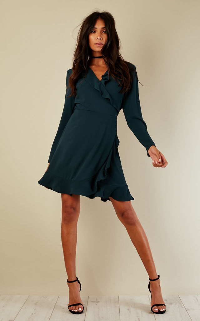 Forest Green Wrap Frill Dress by John Zack