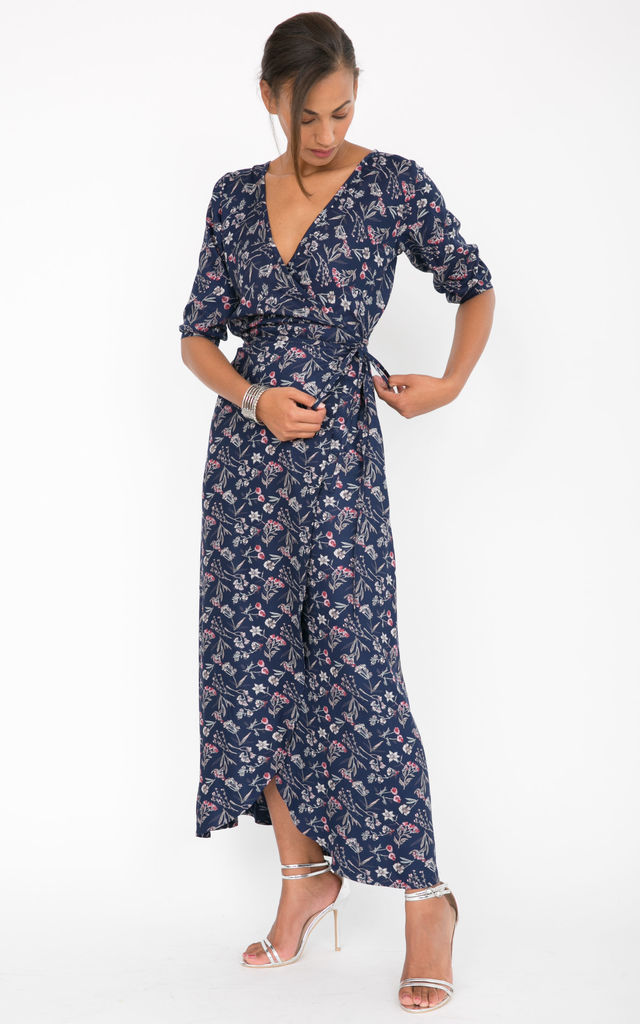 Maxi Wrap Dress 3/4 Sleeves Floral Print by likemary