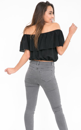 Off Shoulder Bardot Ruffle Top Black by likemary