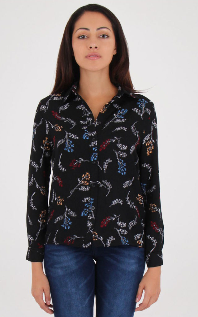 Black Floral Print Long sleeves Collared Shirt by MISSTRUTH