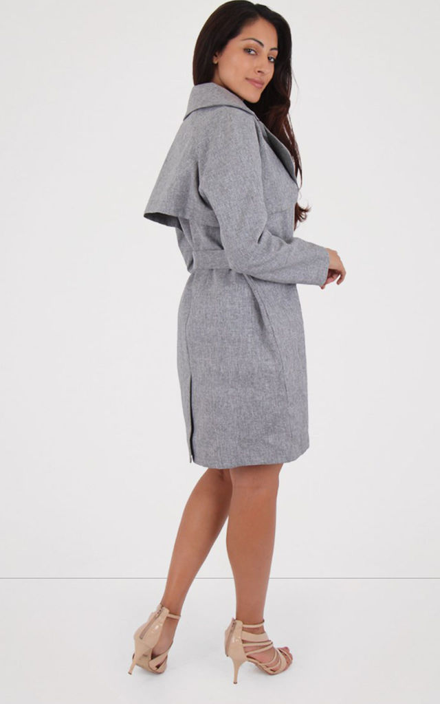 Grey Double Breasted Belted Long Sleeves Trench Coat by MISSTRUTH