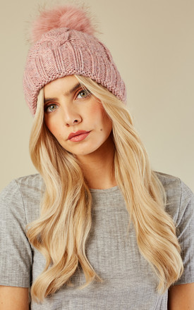 Pink Faux Fur Bobble Hat by Lilah Rose