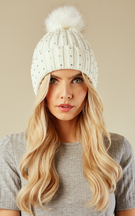 Cream Crystal Studded Bobble Hat by Lilah Rose