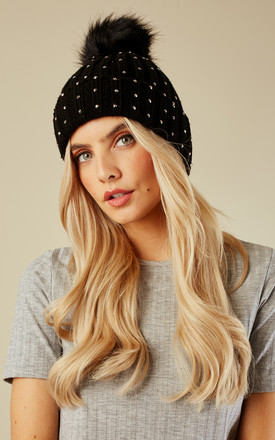 Black Crystal Studded Bobble Hat by Lilah Rose