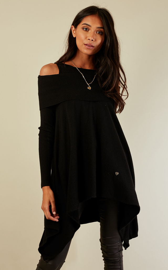 Black Ribbed Cold Shoulder Waterfall Jumper by Lilah Rose