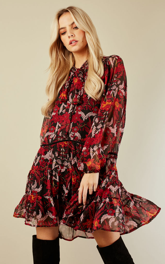 Burgundy Winter Floral Dress Silkfred