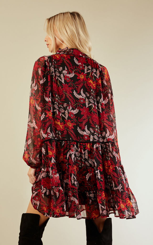 Burgundy Winter Floral Dress by Glamorous
