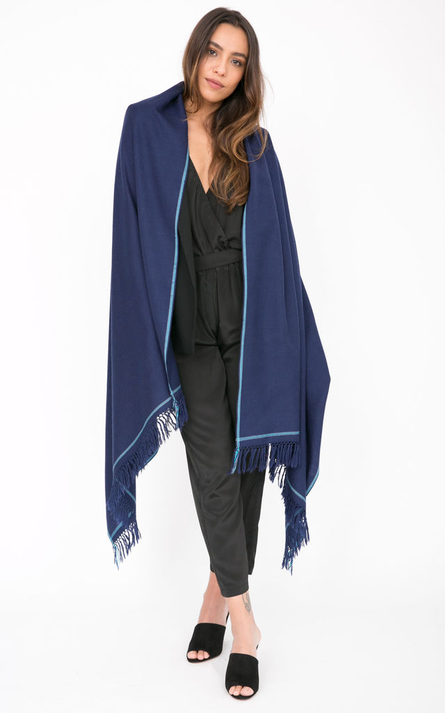 Shoreditch Merino Wool Shawl & Oversize Scarf Atlantic Blue 100 x 200cm by likemary