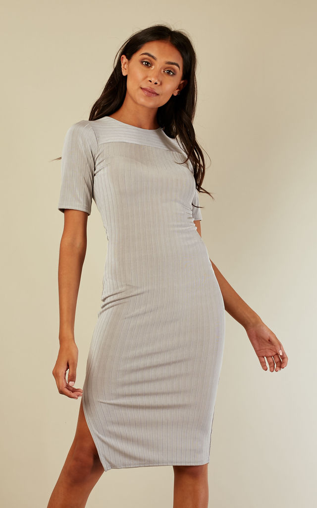 48fb1cff8289 Grey side split midi dress by India Gray