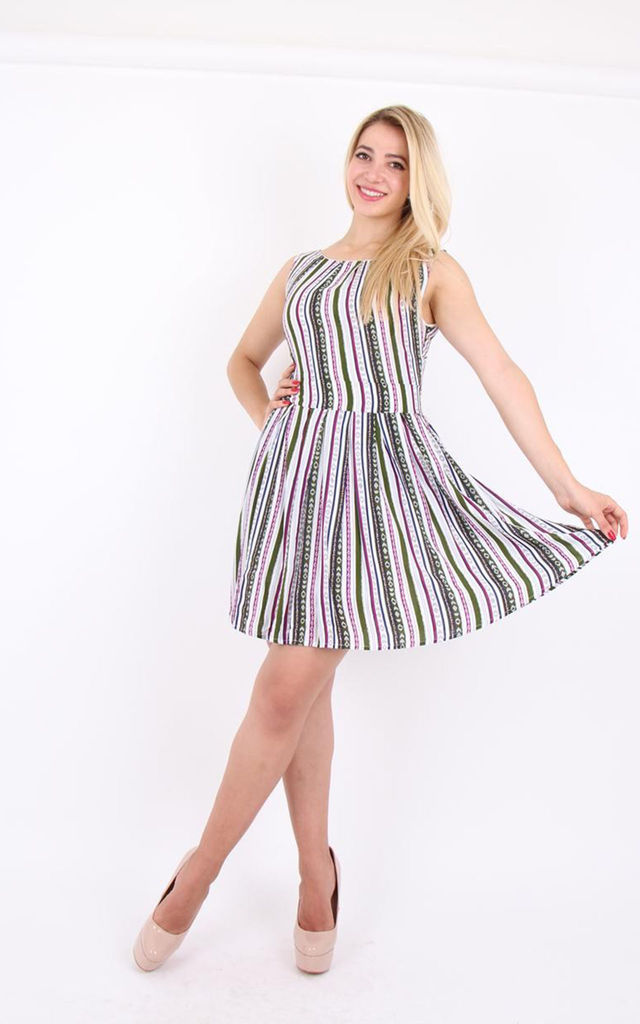 Crew Neck Sleeveless Striped A-line Tie Back Mini Dress by MISSTRUTH