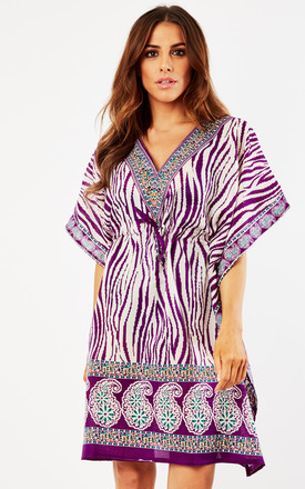 Zebra Print Beach Dress In Purple With Tie Waist by Kitten Beachwear Product photo