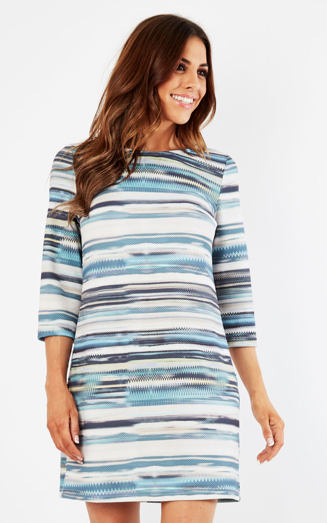 Stripe 3/4 Sleeve Shift Dress by Lavand