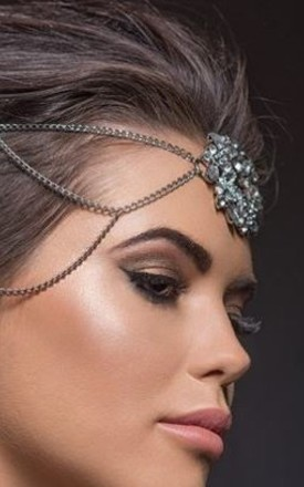 Halo silver crystal hair chain by Kate Coleman