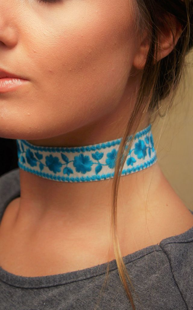 Blue Beatrix embroidered choker by 16 Braunton
