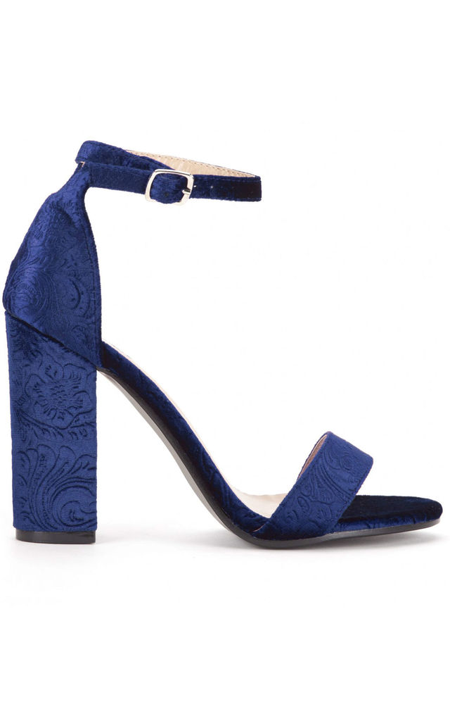 Navy Velvet Barely There High Heel Sandals by Shoe Closet