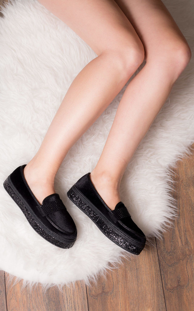 CARLIE Glitter Flat Loafer Shoes - Black Suede Style by SpyLoveBuy