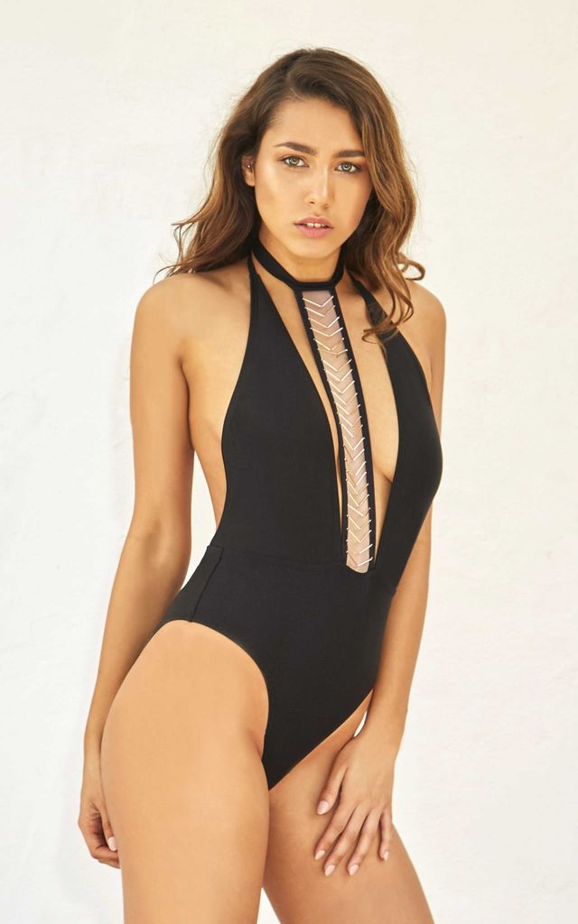 Black Plunge Swimsuit with Chevron Choker by Candypants
