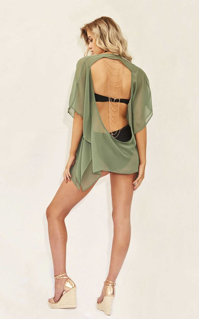 TAKE ME TO BRUNCH - GREEN HOLIDAY KIMONO by Candypants