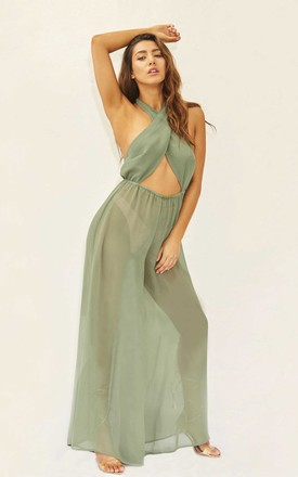 MEET ME AT THE HALTER - KHAKI JUMPSUIT by Candypants