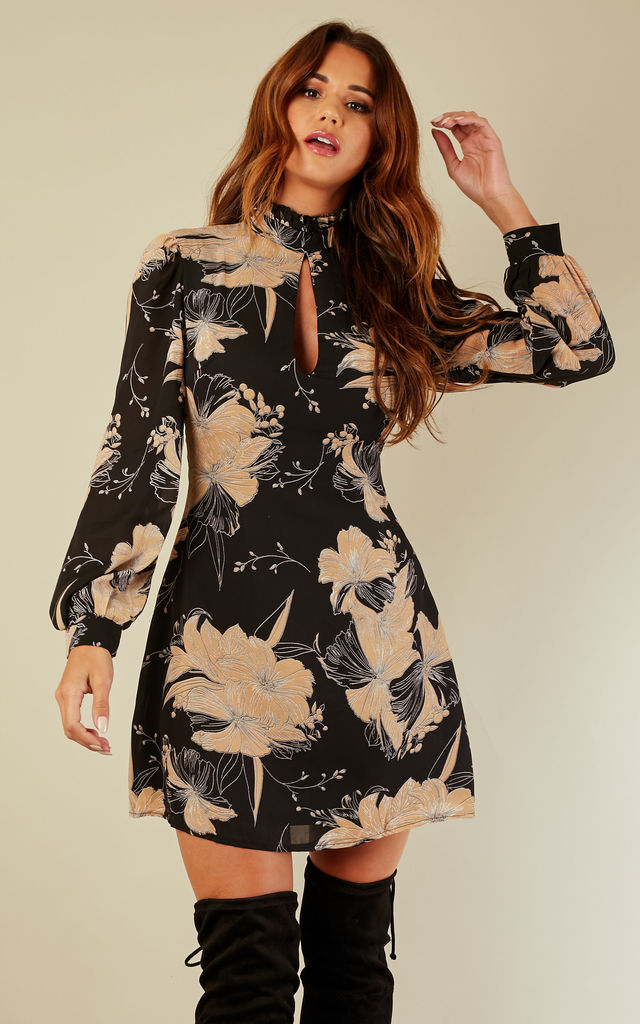 Black Floral Keyhole Cut Shift Dress by Lilah Rose