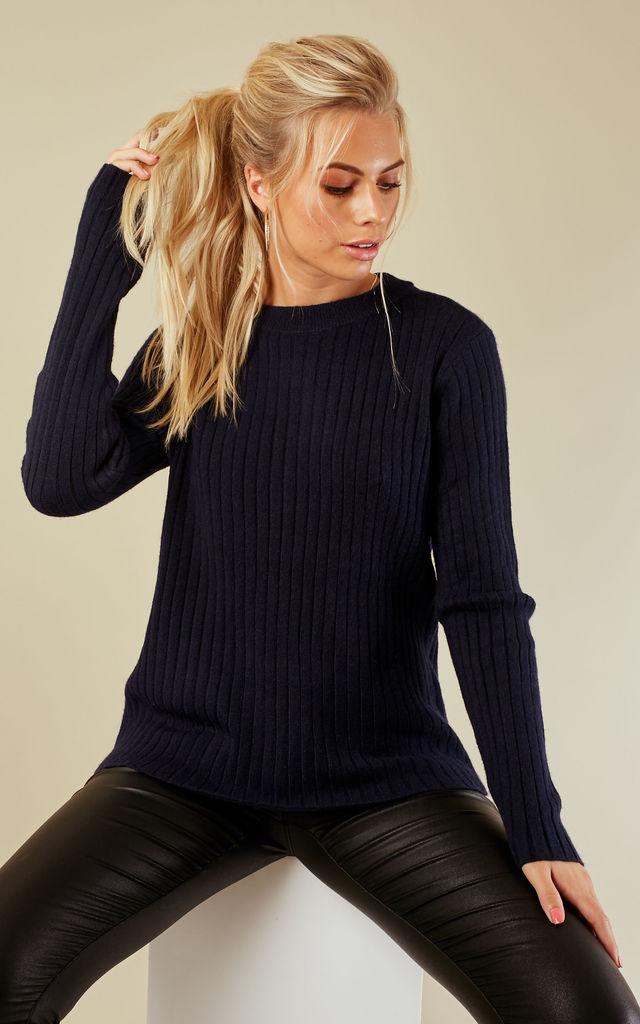 Navy Long Sleeved Over Sized Jumper by VM