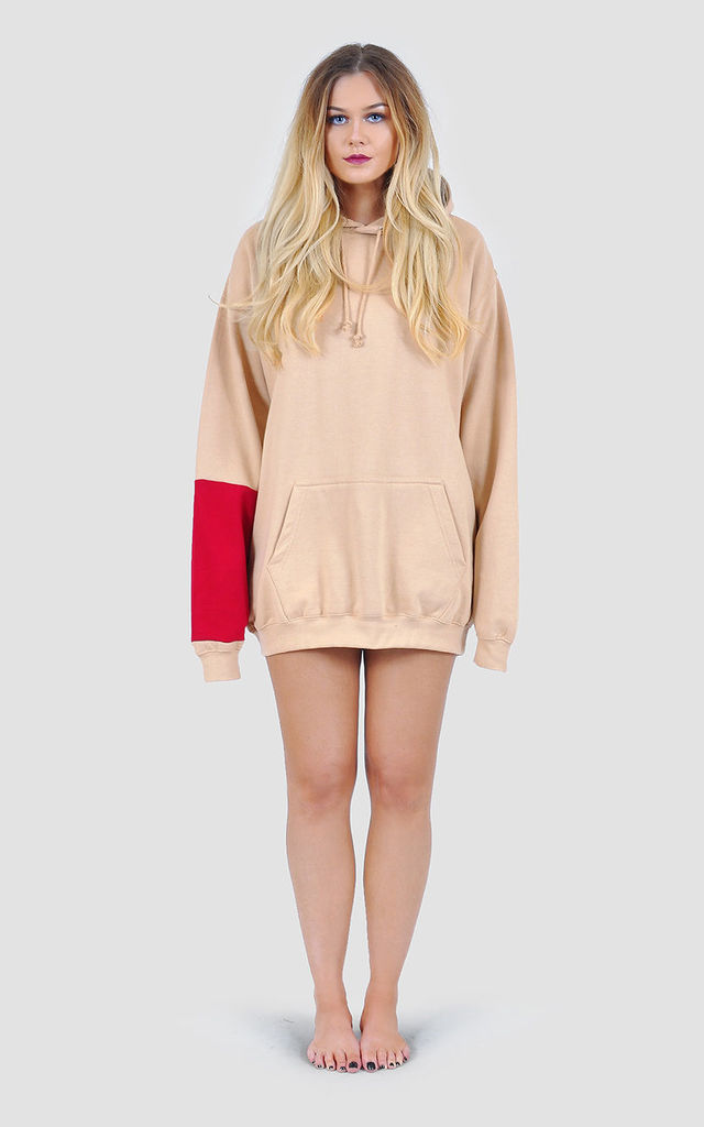Oversized hoodie/dress with red panel by The Left Bank