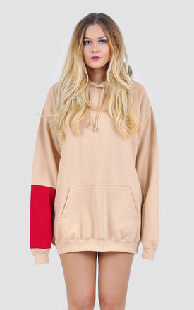 Oversized hoodie jumper dress with red panel by The Left Bank