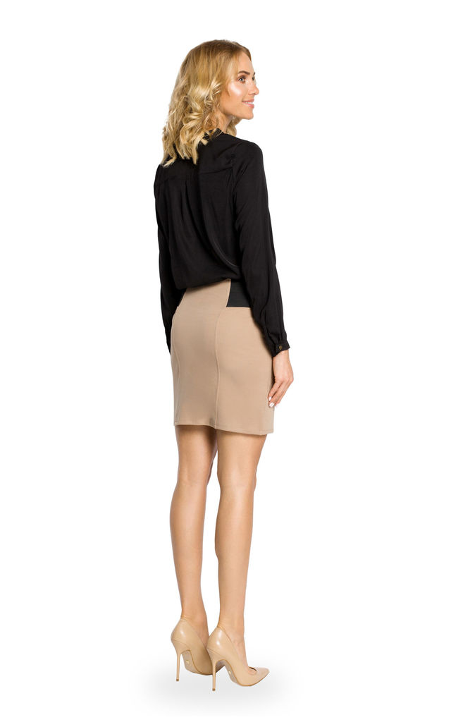 Cappuccino Plain Mini Skirt With Elastic Waist Band by MOE