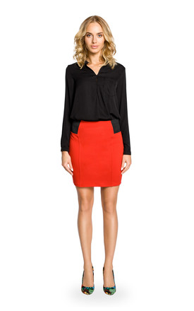 Red Plain Mini Skirt With Elastic Waist Band by MOE