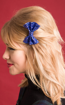 Small Glitter Hair Bow Blue by Stephanieverafter