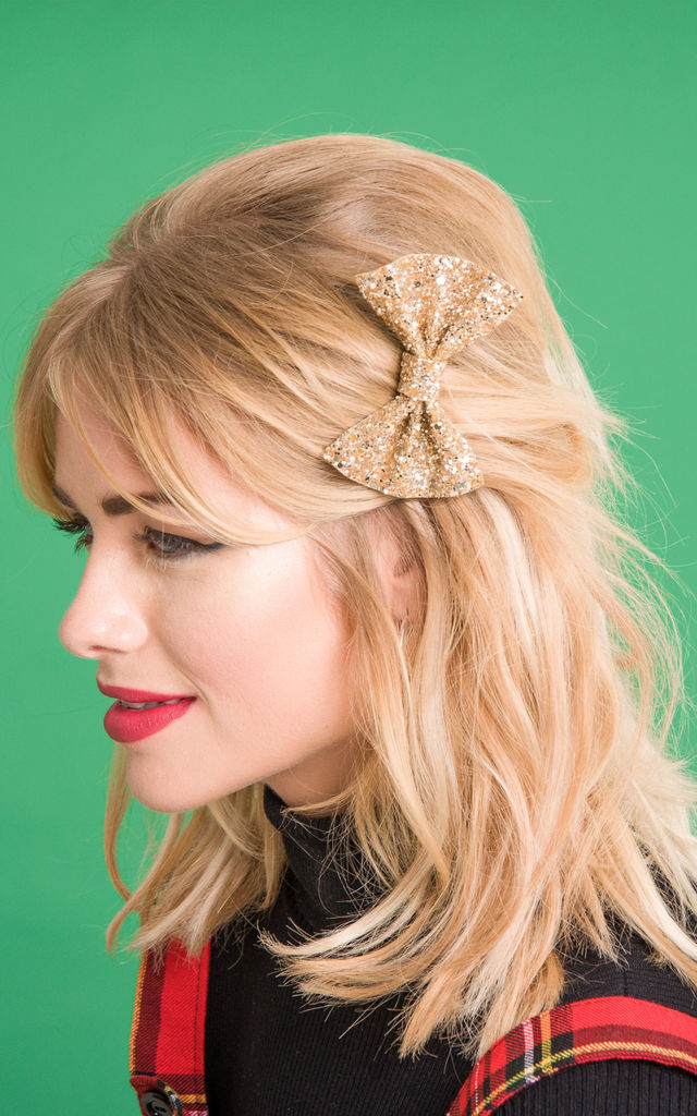 Small Glitter Hair Bow Gold by Stephanieverafter