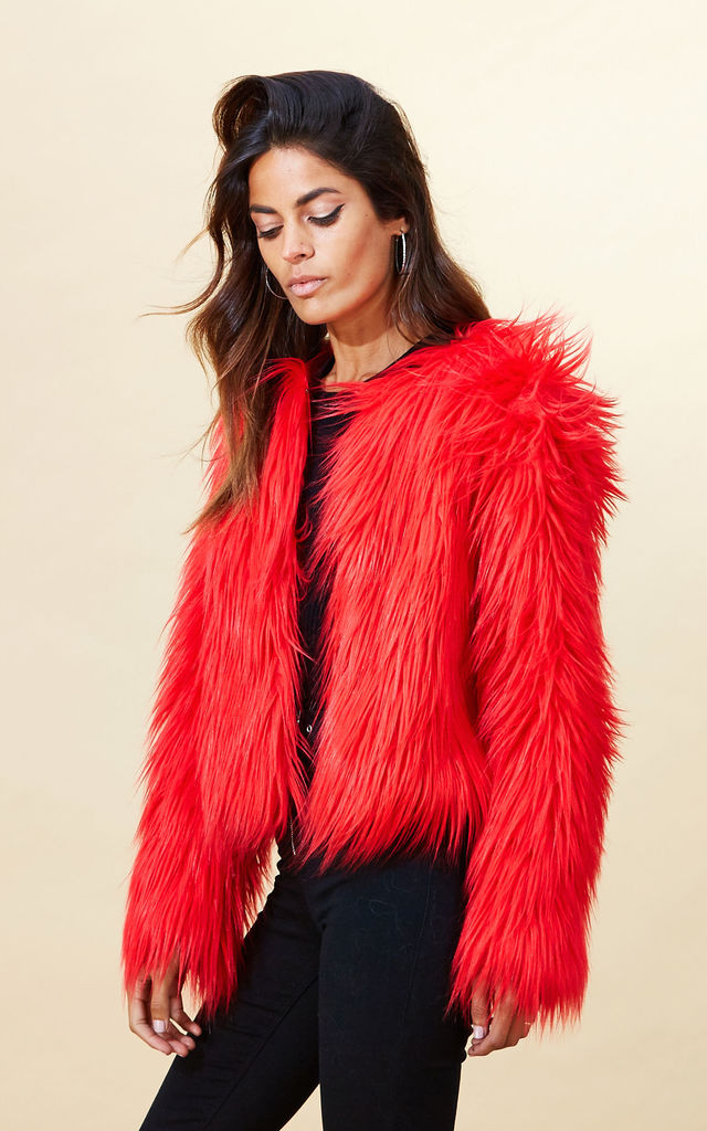 Paris Faux Fur in Red image