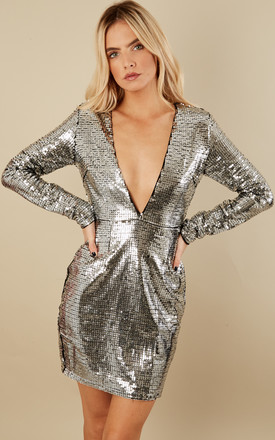 Silver Sequin Deep V Long Sleeve Mini Dress by Glamorous Product photo