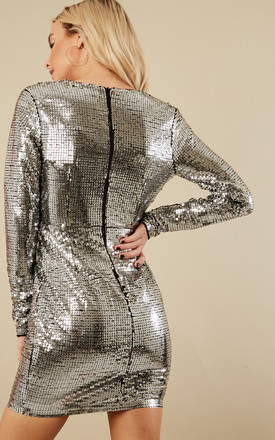 Silver Sequin Deep V Long Sleeve Mini Dress by Glamorous