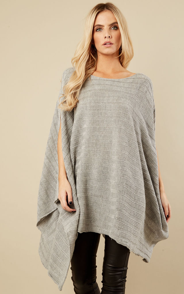 Silver Grey Knitted Ribbed Poncho by Bella and Blue